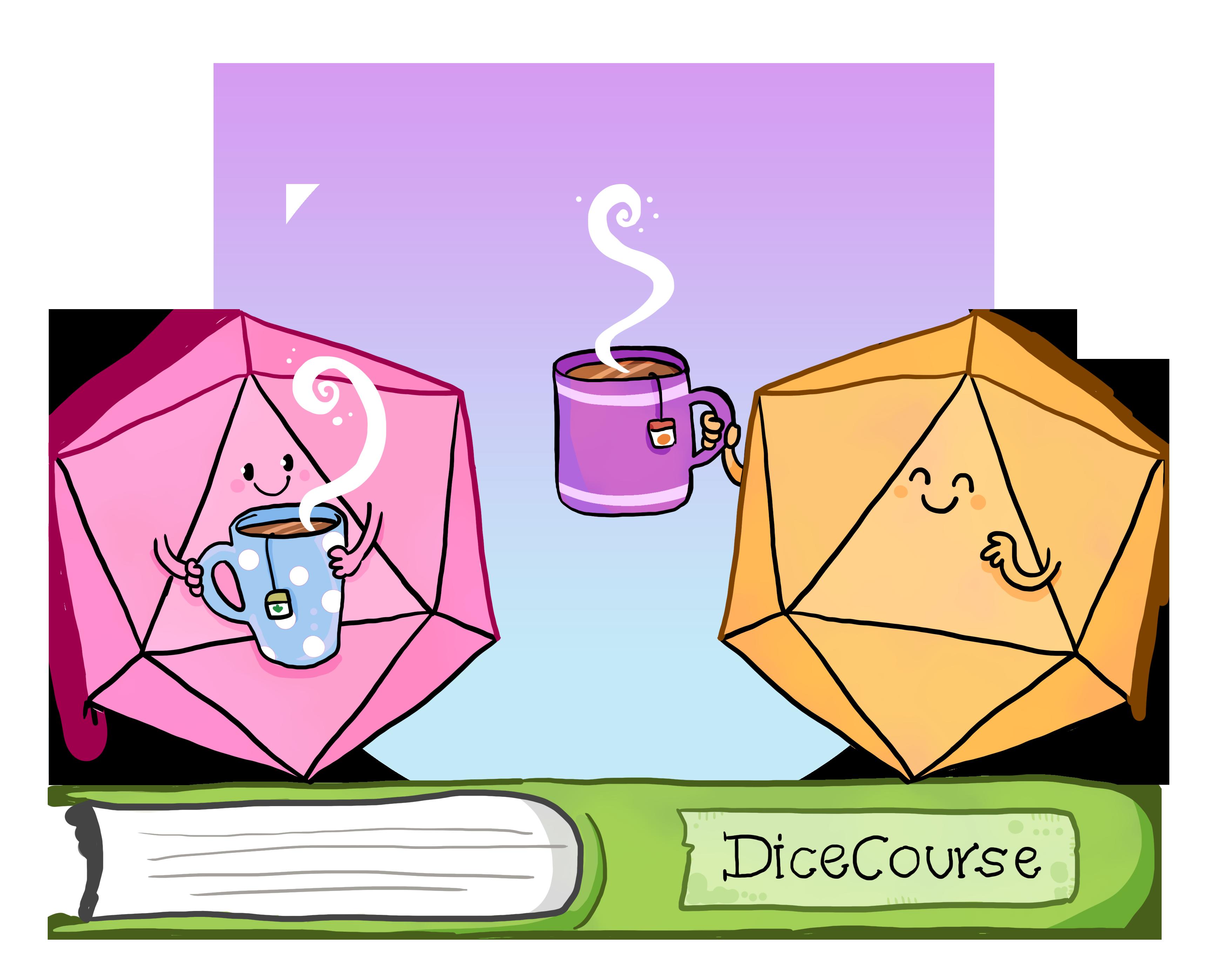 Zwei Würfel mit Gesichtern und Teetassen über einem Buch auf dem DiceCourse steht. So lautet der Titel des Blogs.